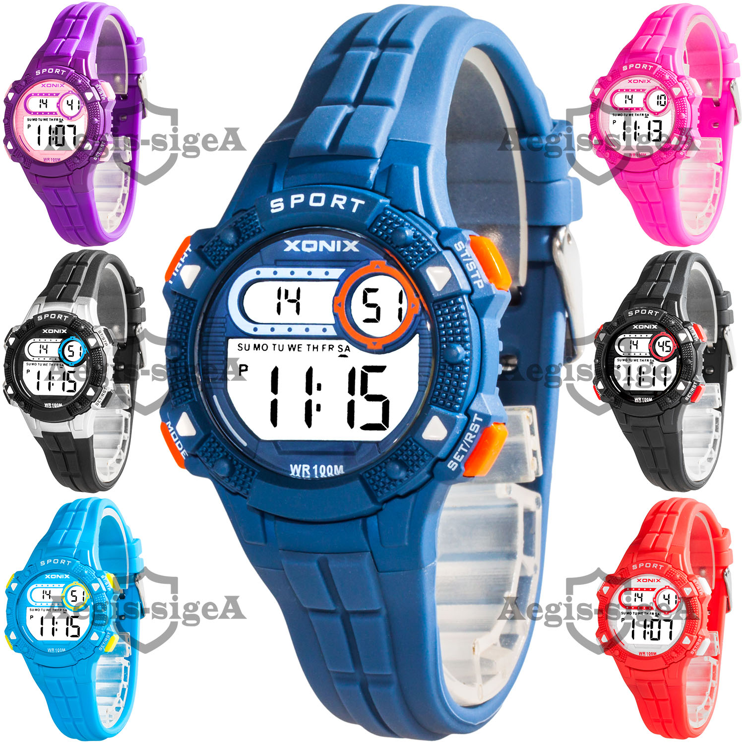 Details About Digital Kids Wrist Watch Xonix Stopwatch Alarm Timer Water Resistant 100m